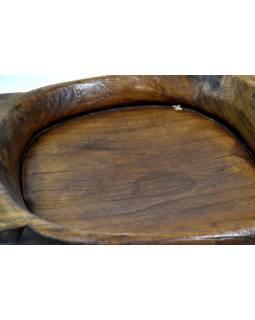 Dřevěná mísa z teakového dřeva, antik, 58x42x8cm