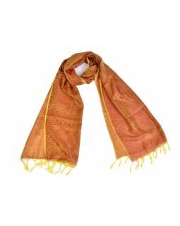 Šátek, brokát - viskóza, červeno-žlutý, paisley design, 50x175cm