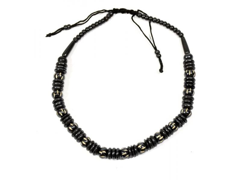 Kostěný náhrdelník, černý, na stahovací šňůrce