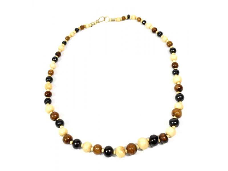 Kostěný náhrdelník, béžové, hnědé a černé kuličky, zapínání