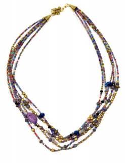 Náhrdelník, 5-řadý, fialové, barevné a zlaté korálky, zapínání