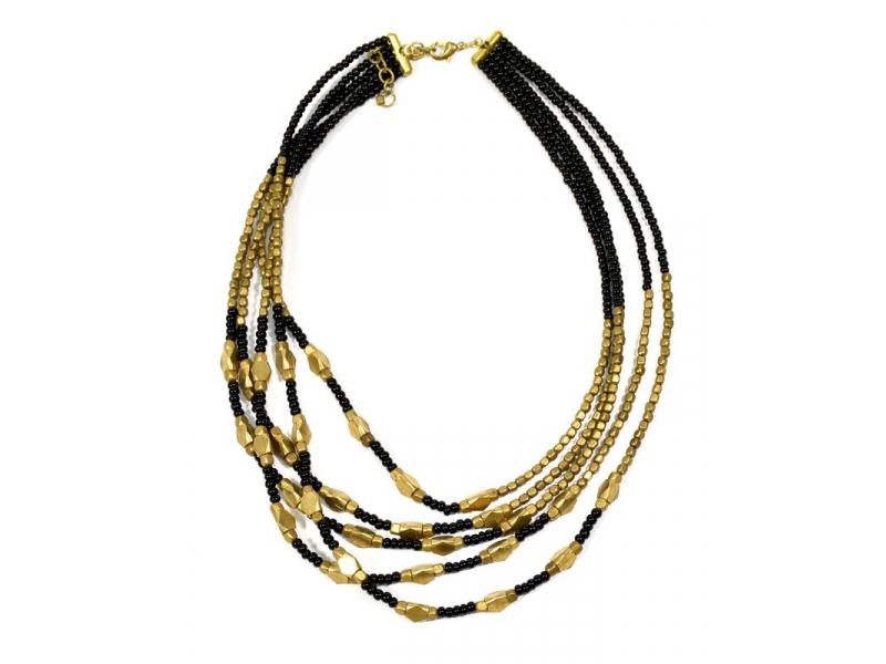 Náhrdelník, 5-řadý, černé a zlaté korálky, zapínání