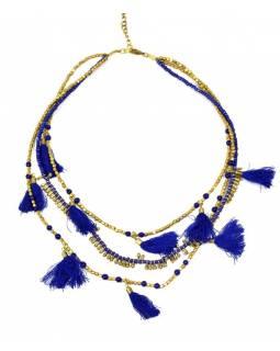 Náhrdelník, 3-řadý, modré a zlaté korálky, střapce, zapínání