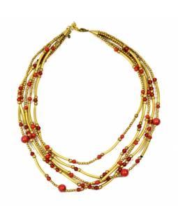 Náhrdelník, 5-řadý, červené a zlaté korálky, zapínání