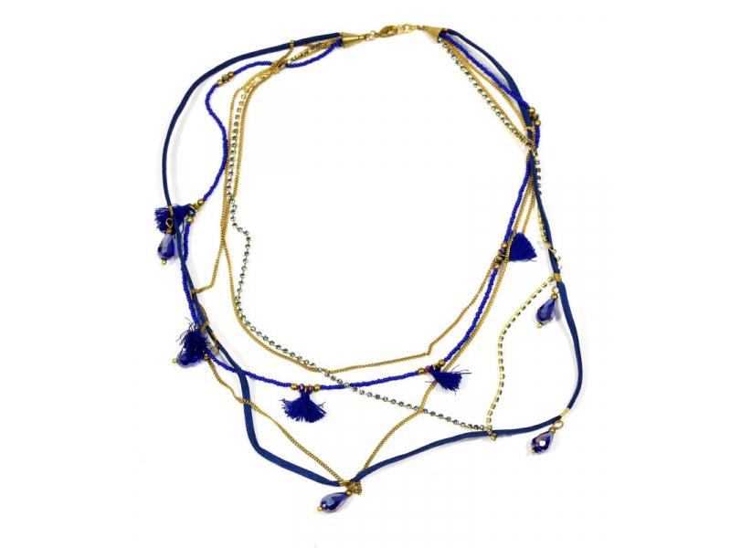 Náhrdelník, 5-řadý, modré korálky, zlaté řetízky a střapce, zapínání