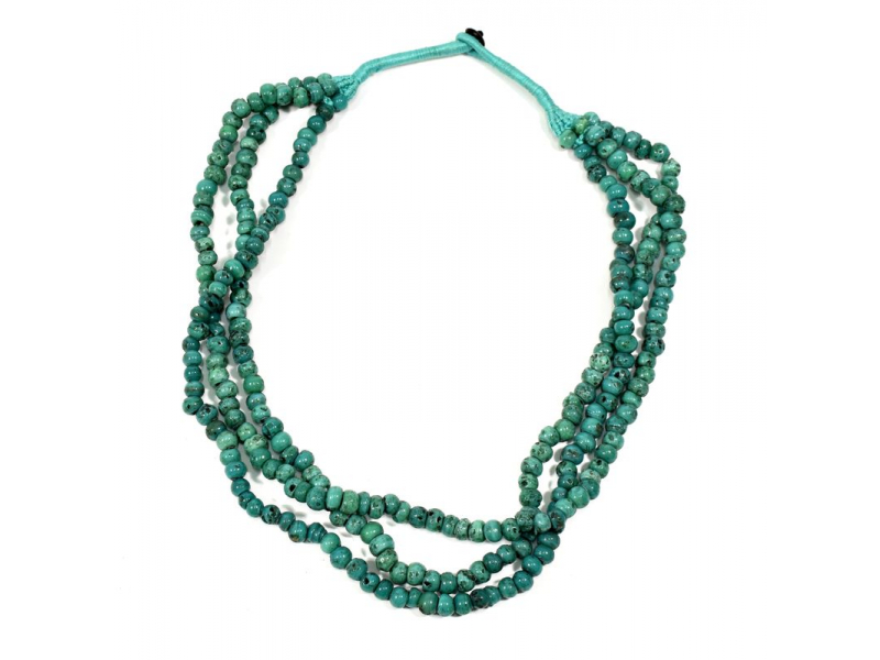 Masivní dlouhý náhrdelník, 3-řadý, tyrkysové korále, zapínání
