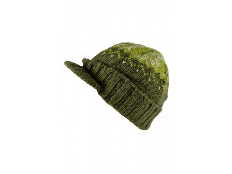 Čepice, visor cap, kšilt, vlna, podšívka, vzor vločka, zelená