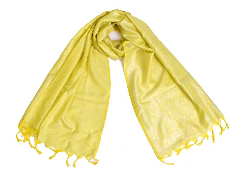 Šátek, brokát - viskóza, žlutý, paisley design, 50x175cm