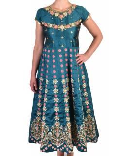 """Luxusní indické šaty """"Anarkali"""", smaragdově zelené, šál a leginy"""