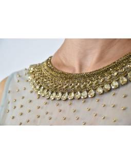 """Luxusní indické šaty """"Anarkali"""", modro stříbrné, zlaté fltry, šál a leginy"""
