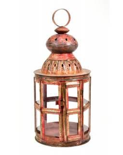 Kovová lucerna, červená patina, 32x32x76cm