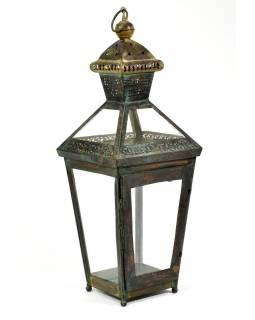 Kovová lucerna, černo zelená patina, 26x26x73cm