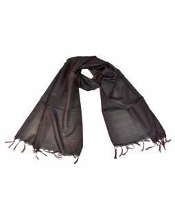 Šátek, brokát - viskóza, černo-fialový, paisley design, 50x175cm