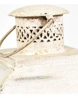 Kovová lucerna, bílá patina, 29x29x66cm