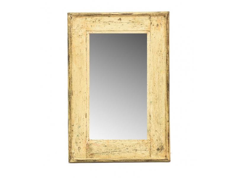 Zrcadlo v rámu, starý teak, antik patina, 32x48x3cm