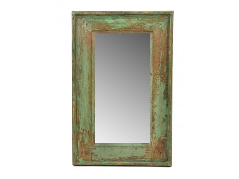 Zrcadlo v rámu, starý teak, antik patina, 32x50x3cm
