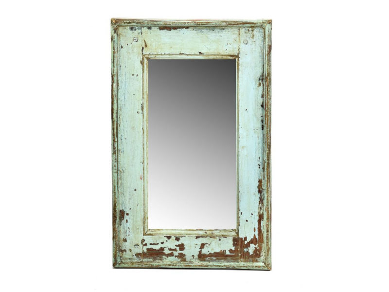 Zrcadlo v rámu, starý teak, antik patina, 30x49x3cm