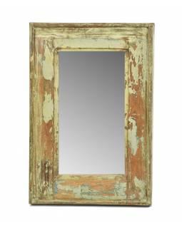 Zrcadlo v rámu, starý teak, antik patina, 33x49x3cm