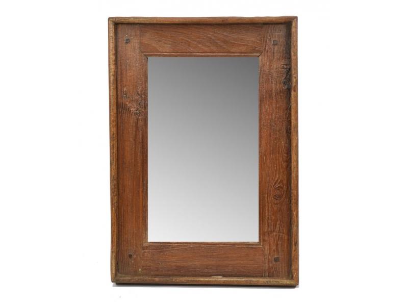 Zrcadlo v rámu, starý teak, bez patiny, 33x47x4cm