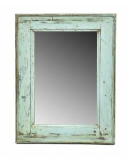 Zrcadlo v rámu, starý teak, antik patina, 36x47x3cm
