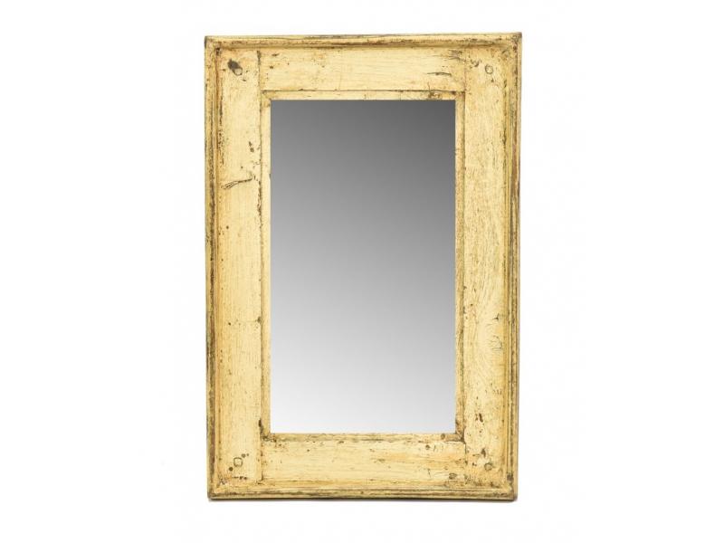 Zrcadlo v rámu, starý teak, antik patina, 31x48x3cm