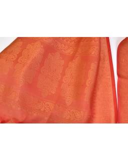 Šátek, brokát - viskóza, červený,  paisley design, 50x175cm