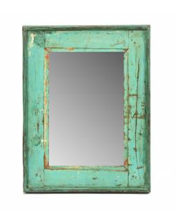 Zrcadlo v rámu, starý teak, antik patina, 37x48x3cm