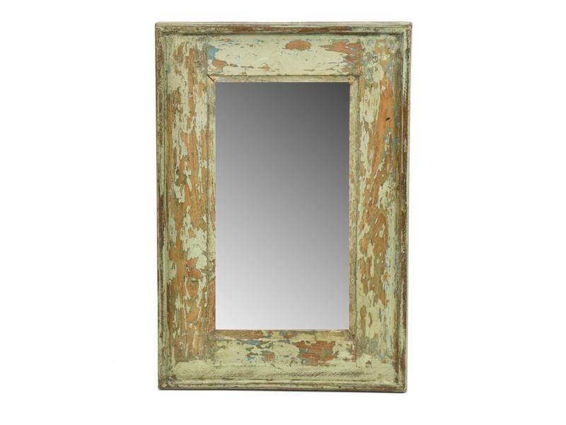 Zrcadlo v rámu, starý teak, antik patina, 34x49x3cm