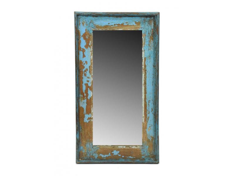 Zrcadlo v rámu, starý teak, antik patina, 33x59x3cm