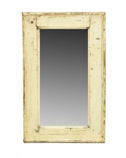 Zrcadlo v rámu, starý teak, antik bílá patina, 33x56x3cm