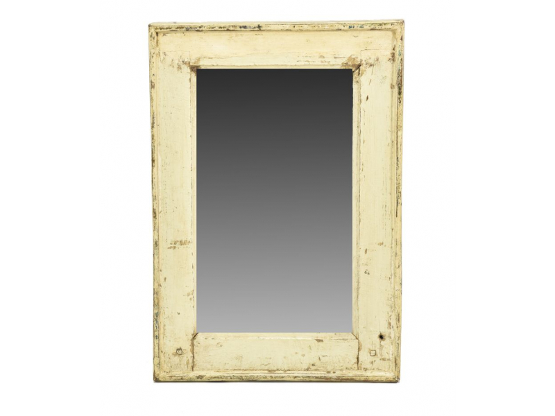 Zrcadlo v rámu, starý teak, antik bílá patina, 38x57x3cm