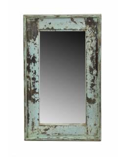 Zrcadlo v rámu, starý teak, antik tyrkysová patina, 34x56x3,5cm