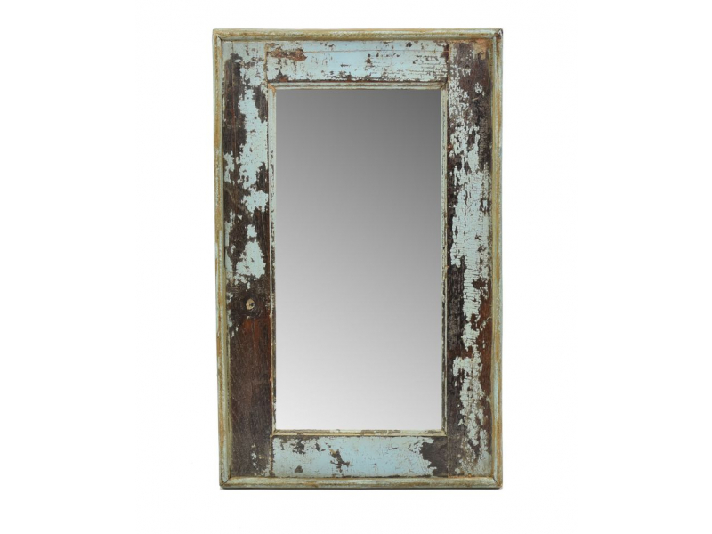 Zrcadlo v rámu, starý teak, antik patina, 33x54x3cm