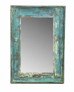 Zrcadlo v rámu, starý teak, antik patina, 37x53x3cm
