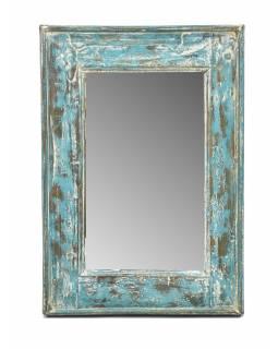 Zrcadlo v rámu, starý teak, antik patina, 36x52x3cm