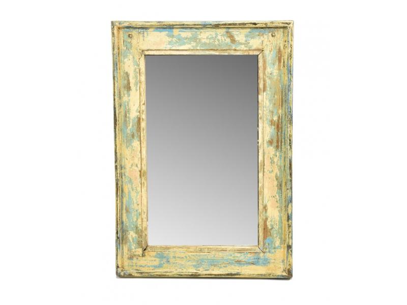 Zrcadlo v rámu, starý teak, antik patina, 41x59x4cm
