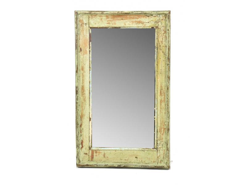 Zrcadlo v rámu, starý teak, antik patina, 38x63x4cm
