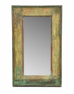 Zrcadlo v rámu, starý teak, antik patina, 38x61x4cm