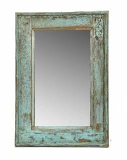Zrcadlo v rámu, starý teak, antik patina, 39x58x4cm