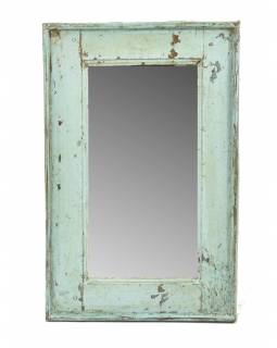 Zrcadlo v rámu, starý teak, antik patina, 39x61x4cm