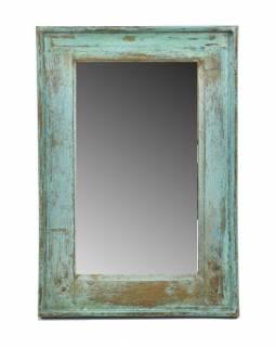 Zrcadlo v rámu, starý teak, antik patina, 40x57x4cm