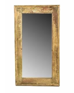 Zrcadlo v rámu, starý teak, antik patina, 41x74x4cm
