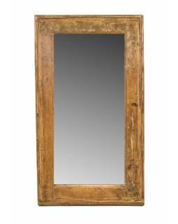 Zrcadlo v rámu, starý teak, antik patina, 42x74x4cm