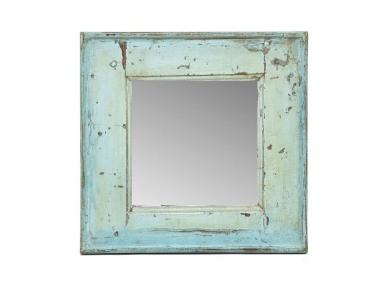 Zrcadlo v rámu, starý teak, antik patina, 39x40x4cm