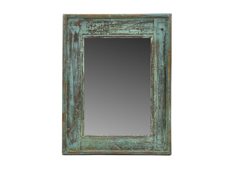 Zrcadlo v rámu, starý teak, antik patina, 33x43x4cm