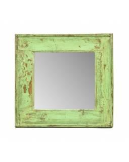 Zrcadlo v rámu, starý teak, antik patina, 49x47x4cm