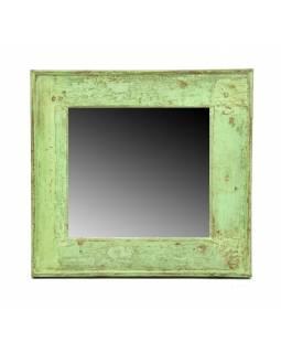 Zrcadlo v rámu, starý teak, antik patina, 50x47x4cm