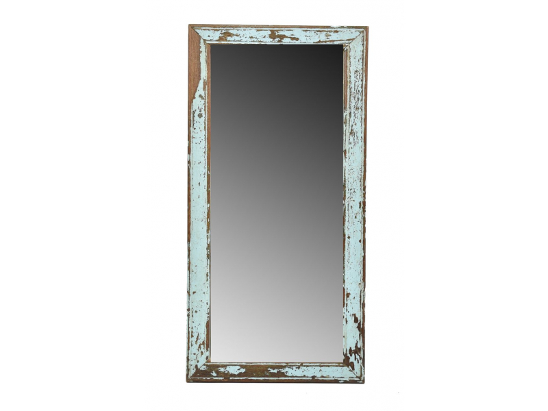Zrcadlo v rámu, starý teak, antik patina, 30x60x2cm