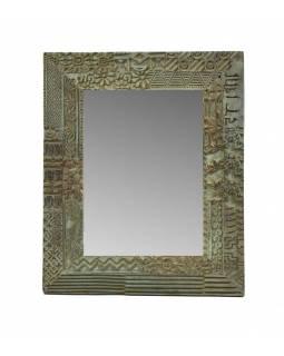 Zrcadlo v rámu s antik řezbou, starý teak, tyrkysová patina, 38x46x3cm