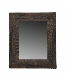 Zrcadlo v rámu s antik řezbou, starý teak, tmavě hnědé, 38x46x3cm